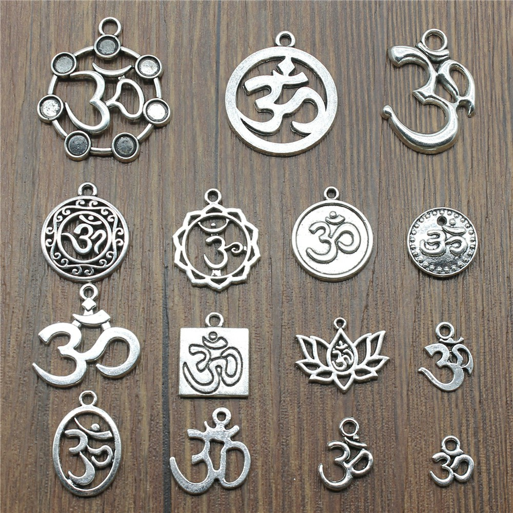 10pcs Om Antique Silver Color Om Pendant Charms Yoga Om Charms Charms For Jewelry Making