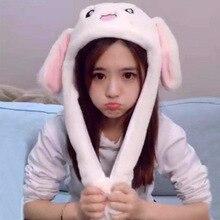 Cute Girls Fluffy Rabbit Fur Bunny Hat Women Pinching Airbag Ear Up Down Cap Toy Gift for Kids Girlfriend Accessories