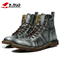 ZSUO Vintage Martin tooling Boots work Motorcycle Leather Racing Boots Men Road Knight Boots Shoes Retro Moto Protective Boots