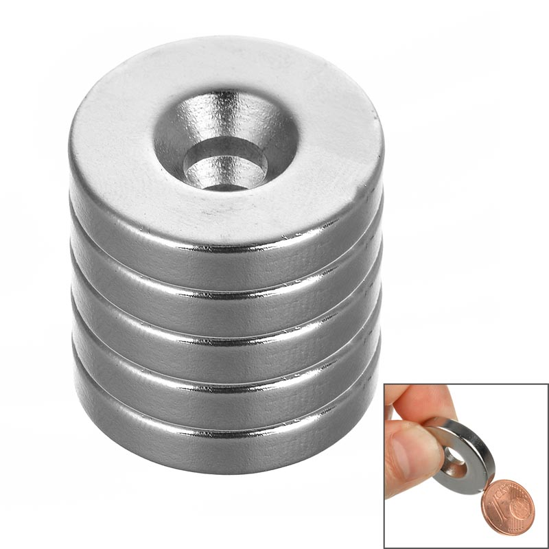 25*5mm Round NdFeB Magnet with Hole - Silver (5PCS/ pack) diy 5 x 5mm cylindrical ndfeb magnet silver 20 pcs page 9