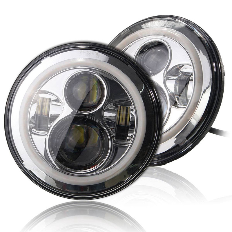 7 LED Headlight for lada 4x4 with Red Yellow White Green Blue Halo Angel Eye Ring