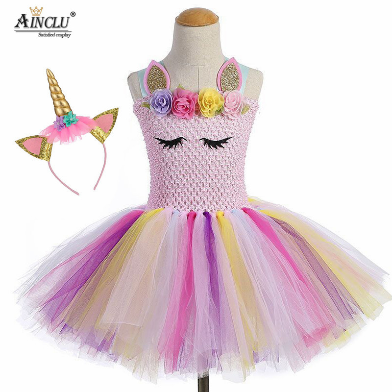 Cute Pastel Princess Girl Unicorn Birthday Tutu Dress with Headband Pink Flowers Girl Pony Theme Party Costume set For Holidays