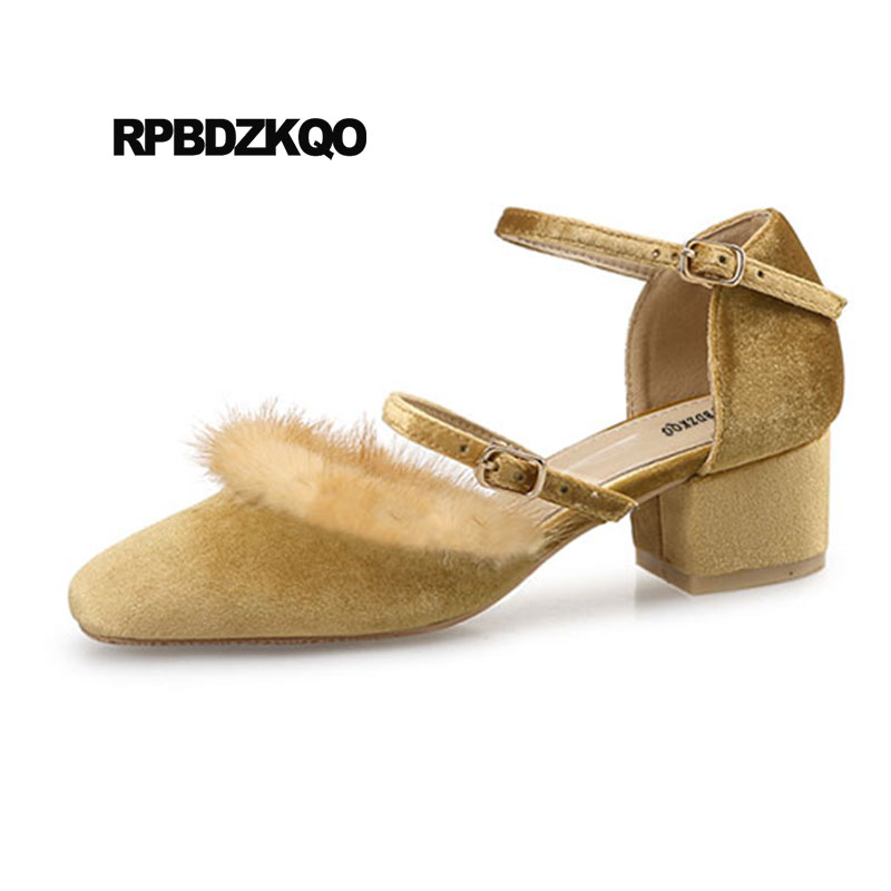 Ankle Strap Size 33 Medium Heels Fur Pumps Block Square Toe Fashionable Ladies Yellow Shoes For Wedding Catwalk Velvet Mary JaneAnkle Strap Size 33 Medium Heels Fur Pumps Block Square Toe Fashionable Ladies Yellow Shoes For Wedding Catwalk Velvet Mary Jane