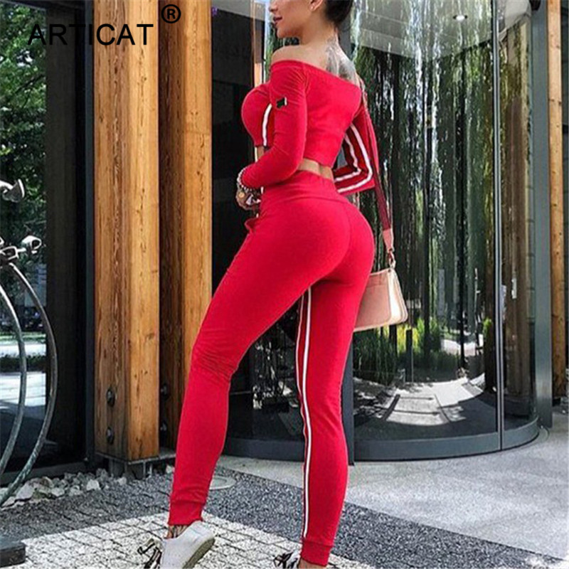 Articat Off Shoulder Sexy Crop Top Women Tracksuit Two Piece Side Stripe Short Autumn Tops Long Pants Casual Fitness Sportswear 4