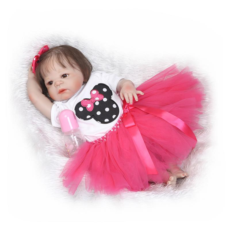 57cm Full Silicone Body Reborn Baby Girl Doll Lifelike Baby Vinyl Dolls Realistic Baby Doll Bebe Reborn Babies Brinquedos Gifts christmas gifts in europe and america early education full body silicone doll reborn babies brinquedo lifelike rb16 11h10