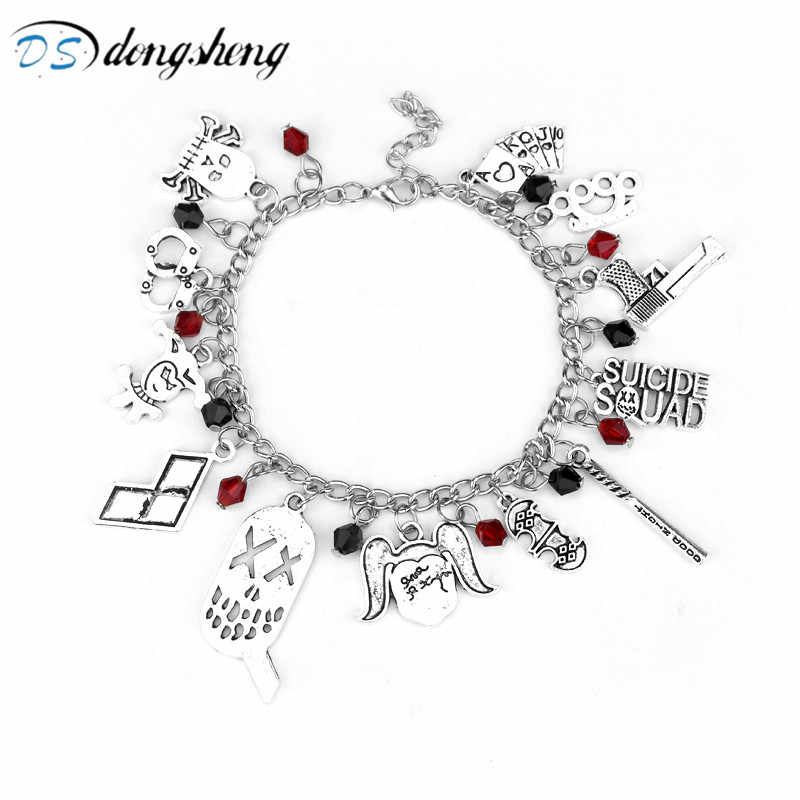 dongsheng Comics Suicide Squad Harley Quinn Charm Bracelet Silver Plated Bat Baseball Wristbands Bracelets for Women Jewelry-10