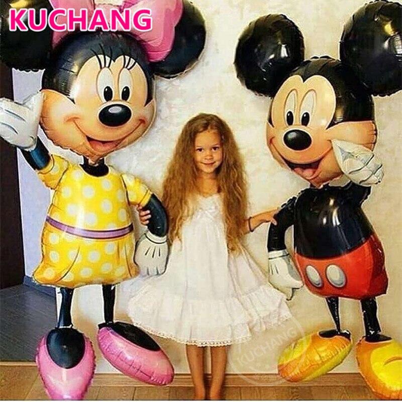 1 Pc 110 Cm Riesen Mickey Minnie Maus Folie Ballons Rot Gelb Bowknot Stehend Kinder Baby Dusche Geburtstag Party Dekorationen Globos Hohe Sicherheit