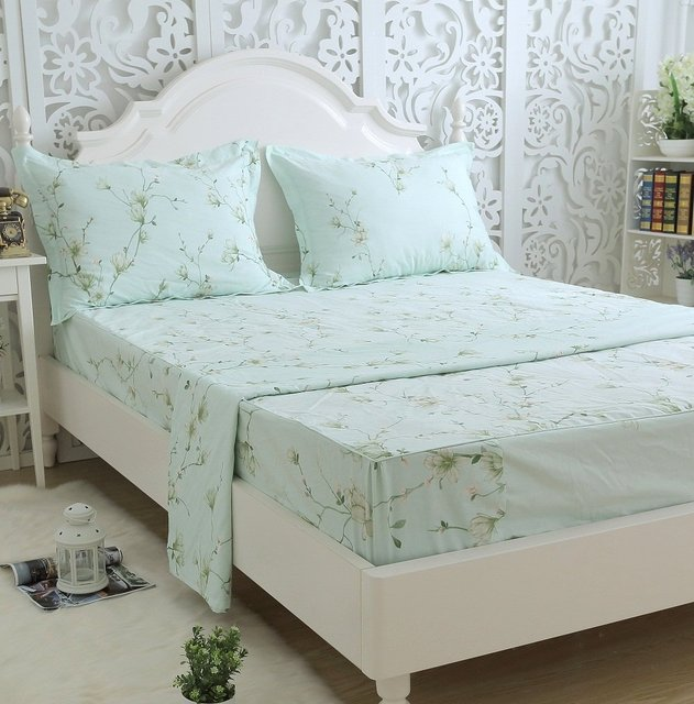 FADFAY Home Textile 100% Cotton Country Style Floral Bed Sheet Set Sheets  Set 4pcs King