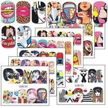 1Sheet Hot Fashion Mixed Design Women Nail Art Decoration DIY Full Wraps Nail Sticker Decals Watermark Tips BEBN385-396