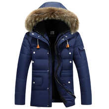Новое поступление 2017 года Для мужчин утка Пух куртка Для мужчин S зимнее пальто Для мужчин с роговыми пуговицами большой натуральный меховой воротник с пальто с капюшоном