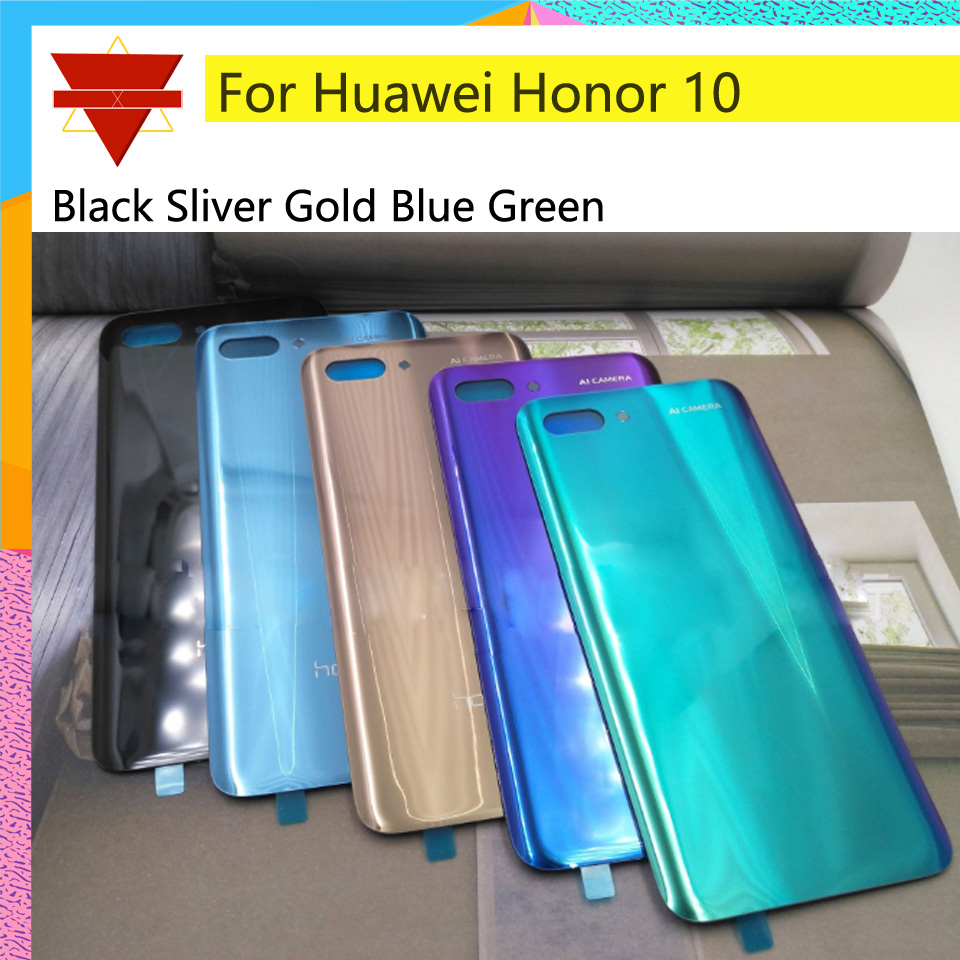 10pcs\lot For Huawei honor 10 COL-L29 Back Battery Cover Rear Glass Panel Door Housing Case Repair Replacement Part image