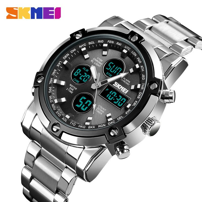 SKMEI Clock Relogio Masculino Mens Watches Top Luxury Brand Sport Watch Countdown Stainless Steel Strap Quartz Wristwatches Men