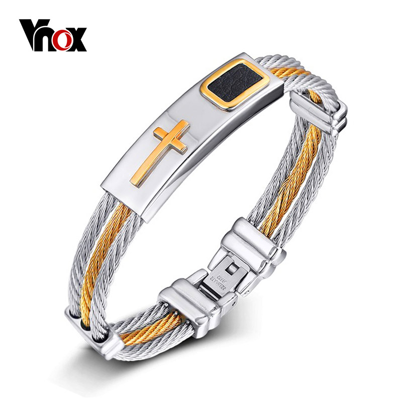 Vnox Cross Bracelet Men Jewelry Stainless Steel Wire Chain Male Gift With Black Leather DropShipping