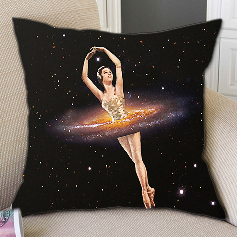 Vintage Dreamy Ballet Dancer Galaxy Outer Space Art Decoration Throw Pillow Cover For Sofa Black Color Ballerina Cushion Cover