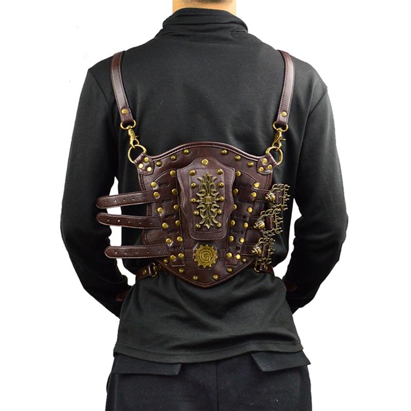 Steampunk Vintage Small Backpack Rivet Detachable Men Women Leather Arm Bag