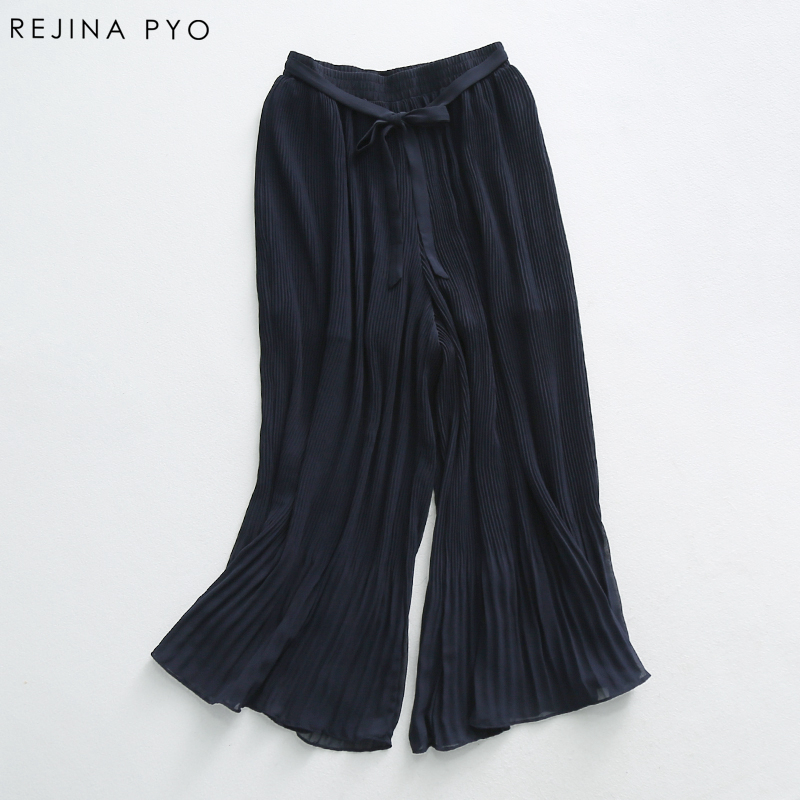 RejinaPyo Women Navy Chiffon Pleated Skirt Female Loose Casual Wide Leg Trousers Pants Ankle-Length High Waist New Arrival