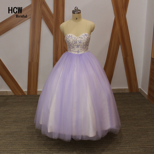 7ef216df03b Wonderful Lavender Tulle Ball Gown Quinceanera Dresses Chic Crystals Beads  Ball Gown 16 Years Quinceanera Dress Robe De Soiree