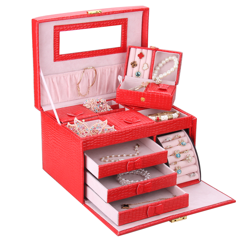 Red Large Jewelry Box Storage Organizer Girls Travel Case Leather Display Case Wedding Rings Boxes Earrings