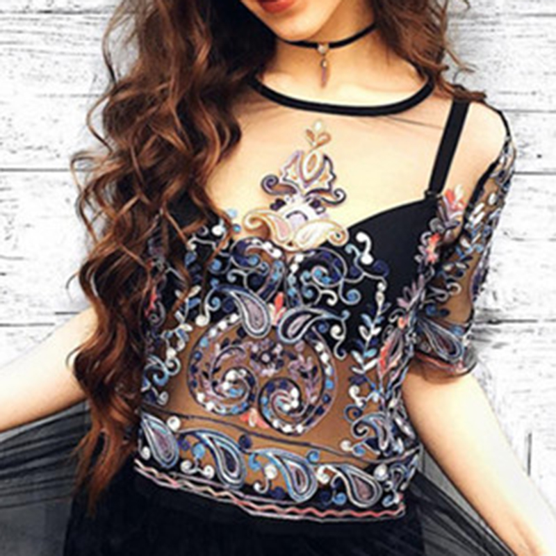 2019 Womens Flower Embroidery Mesh Blouse Women Plus Size Short Shirt Summer O-Neck Short Sleeve Semi Sheer Sexy See Through Top
