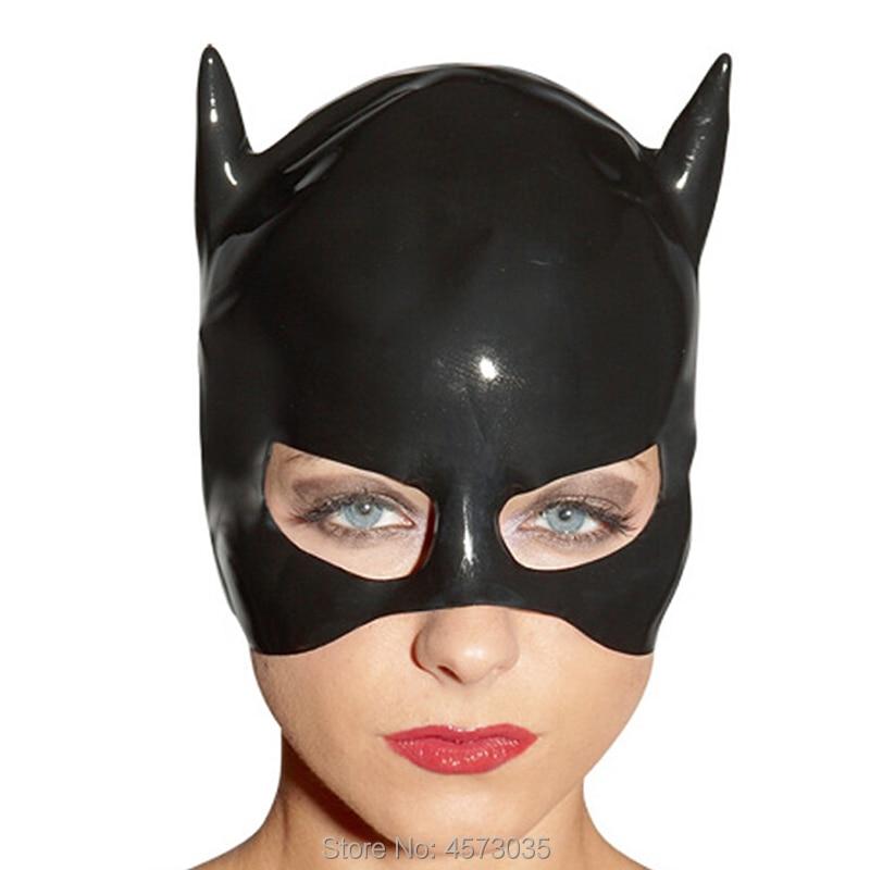 Hot Exotic Sexy Unisex Women Men Handmade Black Latex Half Open Face Hood Costume Cekc Zentai Latex 3d Hoods Hat Customize Size Hot Sale 50-70% OFF
