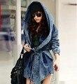 Coak cabo capa ups estilo retro das mulheres encapuzados jaqueta jeans Calça Jeans Casaco jaqueta jeans de Grandes Dimensões Com Capuz Casacos Com Capuz Jean
