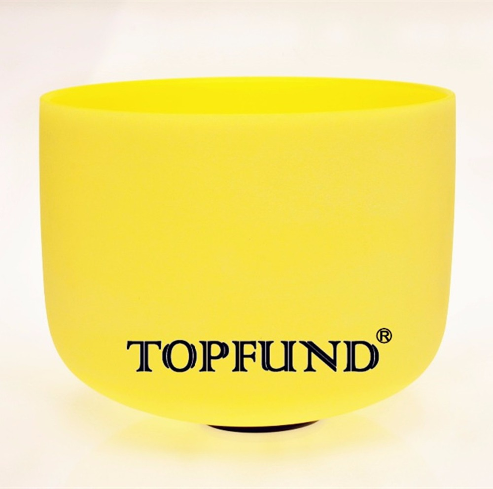 TOPFUND Yellow Frosted Quartz Crystal Singing Bowl 432HZ Tuned E Solar Plexus Chakra 10 With Free Mallet and O-Ring topfund 432hz tuned f note heart chakra frosted quartz crystal singing bowl 12 free mallet and o ring
