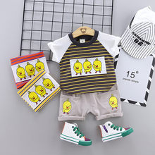 Toddler Kids Baby Boys Duck Stripe T shirt Tops Short Sleeved Pants 2PCS Outfits Roupas Infatil Masculino Boys Clothes Sets(China)
