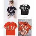 2017 Spring Girls Shortsleevd Vintage Colors Striped T Shirt Girls Black Polo Shirt Letters Knitted Shirt