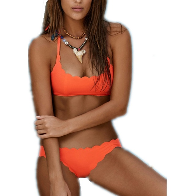 739f893a31 Scalloped Brazilian Bikini Set 2018 Sexy Orange Swimwear Retro Tankini  Swimsuits Women Cute Bathing Suits Maillot De Bain S-XL