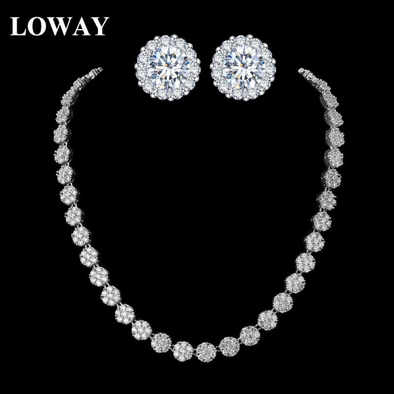 Loway Simple Round Flower Women Wedding Jewelry Sets Good Quality Bride Necklace Earrings Woman Jewellery Xl1918 In From Accessories