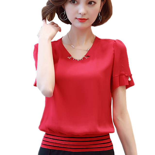 0efa4ec7791b6 New 2018 Summer Fashion O-Neck Chiffon Blouses Slim Women Chiffon Blouse  Office Work Wear shirts Women Tops Plus Size Blusas