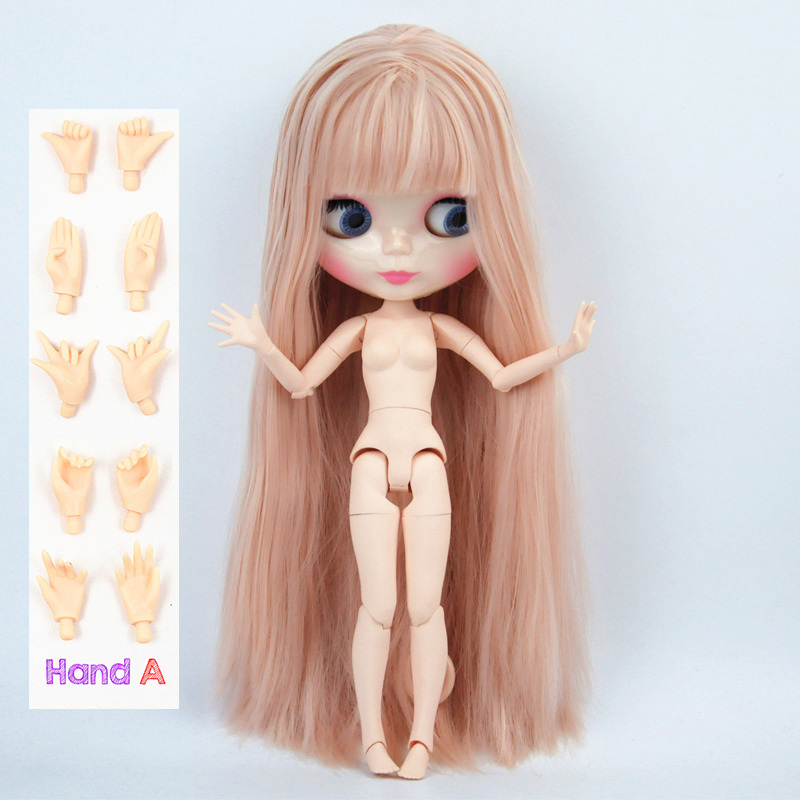 Blyth Organe Commun 1/6 Poupée Blyth Cheveux raides nude Rose Couleur Avec Une Frange/frange BJD Convient pour le BRICOLAGE 19 joints corps jouet pour fille