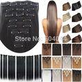 """O envio gratuito de 24 """"(60 cm) 7 pcs set120g-125g 17 cores Reta Longa Grampo de Cabelo Sintético em extensões de cabelo"""