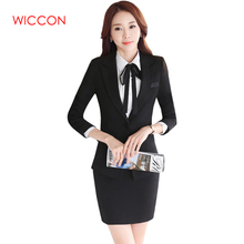 WICCON 2018 New Fashion Autumn Workwear Women's Suit Long Sleeves Skirt Suits OL Formal Interview Business Elegant Skirt Suits