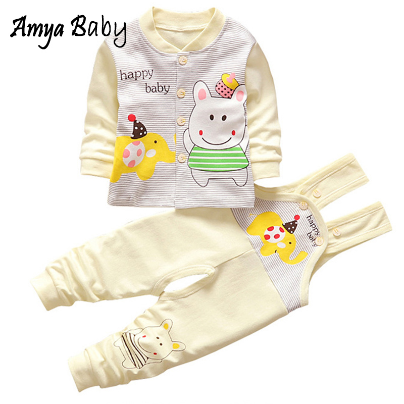 Cotton Cartoon Baby Girl Outfit Long Sleeve Shirt + Strap Pants 2pcs Baby Clothes Set Spring Autumn Winter Girls Boys Underwear