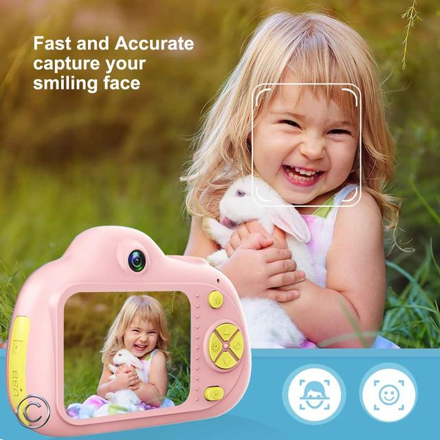Kids Camera Mini Carton Digital SLR Smart Camera Dual Lens 2.0inch 12MP Anti Fall Toy Camera For Boys Girls Christmas Gift