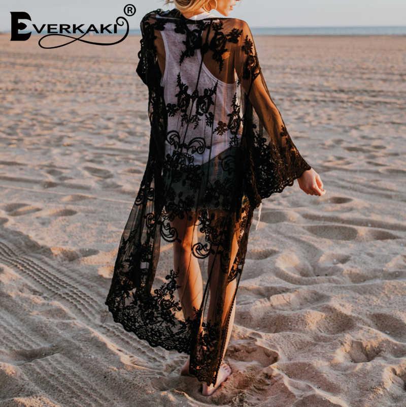 Everkaki богемное однотонное кимоно пальто женское пляжное свободное Бохо кружевное прозрачное длинное пальто-кимоно женское 2019 лето осень новое