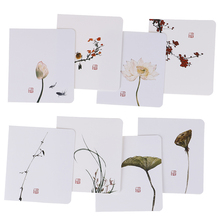 5pcs/pack Creative Classical Chinese Greeting Card White Message Diy Folding Birthday Christmas New Year's Day Blessing Card