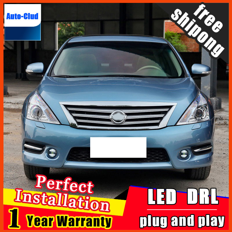 Car-styling LED fog light for Nissan Teana 2008-2015 LED Fog lamp with lens and LED daytime running ligh for car 2 function akd car styling led fog lamp for nissan tourle drl2008 2015 led daytime running light fog light parking signal accessories