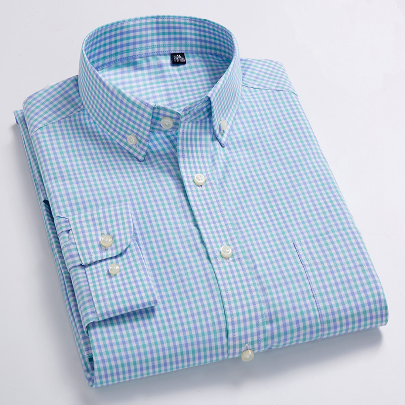 Image 4 - New Arrival Men's Oxford Wash and Wear Plaid Shirts 100% Cotton Casual Shirts High Quality Fashion Design Men's Dress Shirts-in Casual Shirts from Men's Clothing