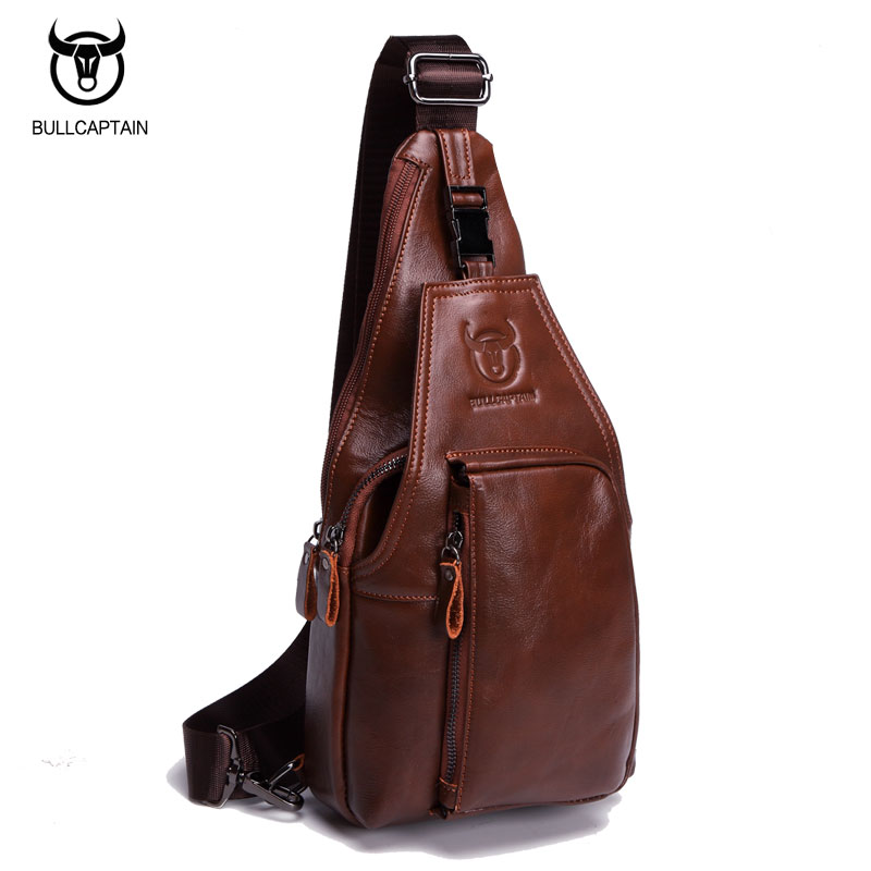 f25dd97ed0 BULL CAPTAIN Vintage FAMOUS Brand Chest Bag Pack Messenger Bag Male  Shoulder Bags Cow Leather Crossbody