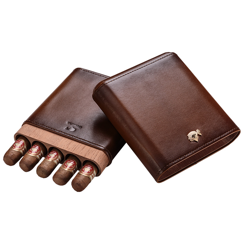 CIGARLOONG Cigar moisturizing leather and cedar wood travel portable protective cigar case holds 5 cigars free ship CF-5001CIGARLOONG Cigar moisturizing leather and cedar wood travel portable protective cigar case holds 5 cigars free ship CF-5001
