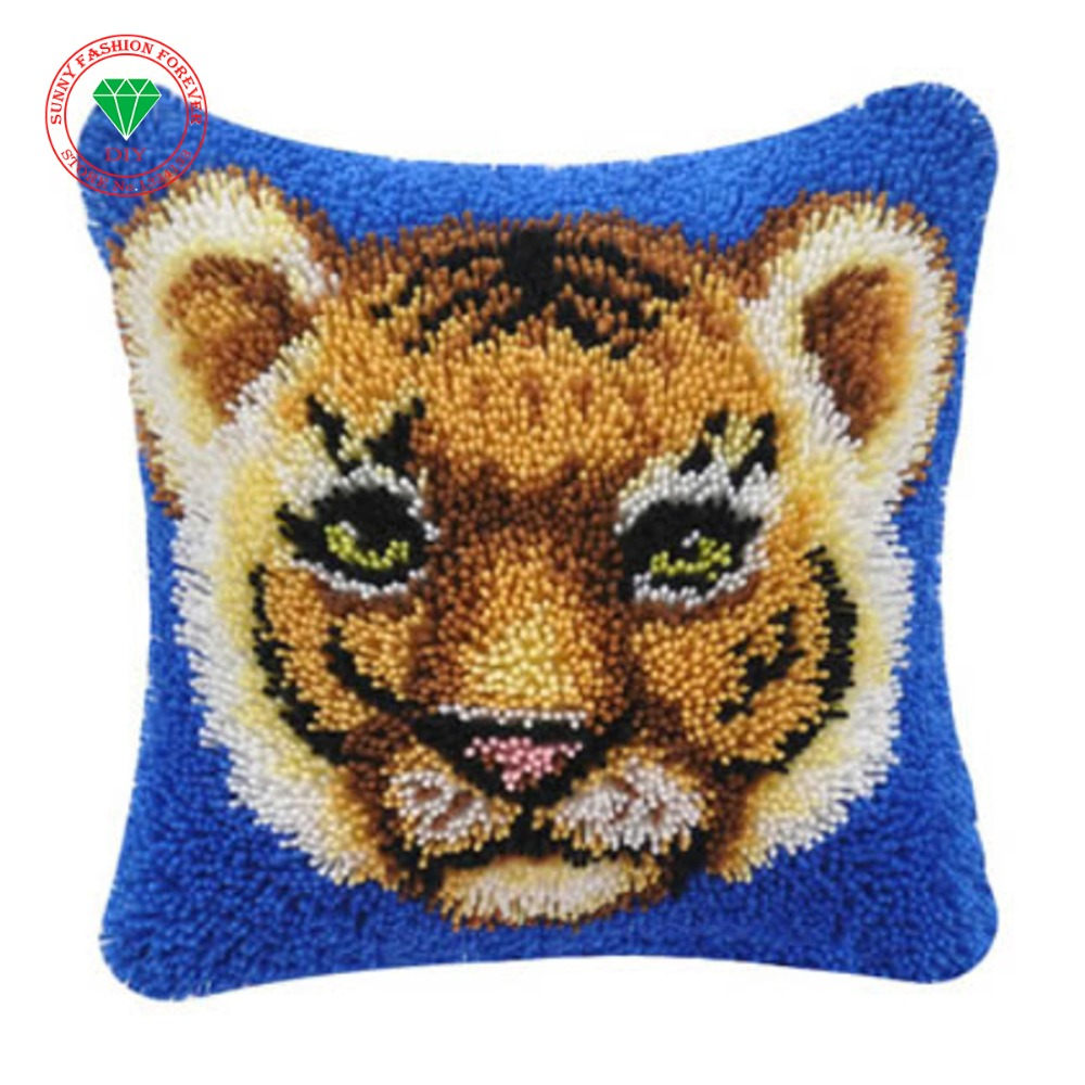 Animal Tiger Diy Needlework Pillowcase Cross Stitch Latch