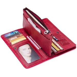Image 4 - محفظة من الجلد الطبيعي للنساء من علامة تجارية فاخرة موديل عام 2020 مع تصميم جديد وطويل ، محفظة بحامل بطاقات للهاتف الخلوي