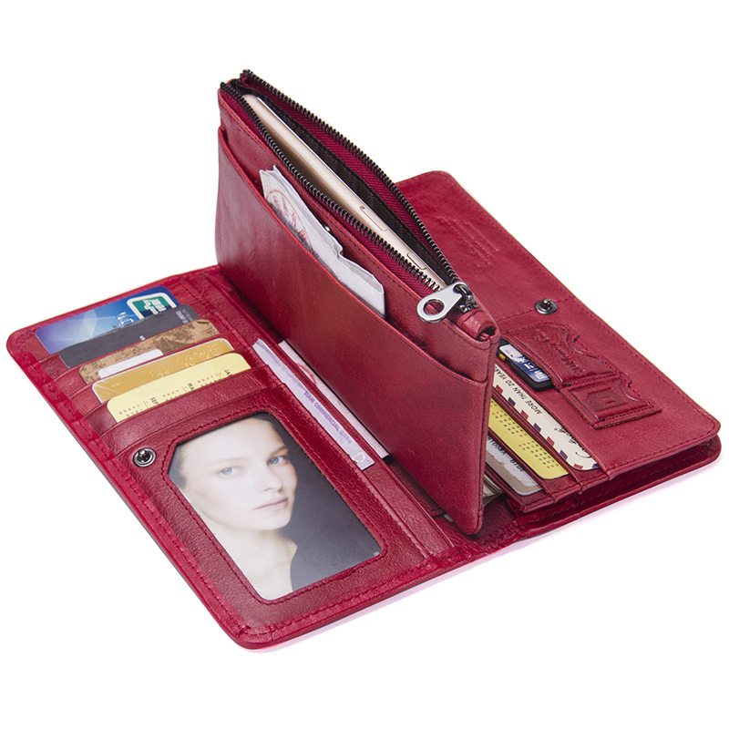 Image 4 - Contacts Luxury Brand Women Wallets Genuine Leather 2020 New Long Design Ladies Purse Clutch Bag Card Cell Phone Holder Walletbrand women walletdesigner women walletwomen brand wallet -