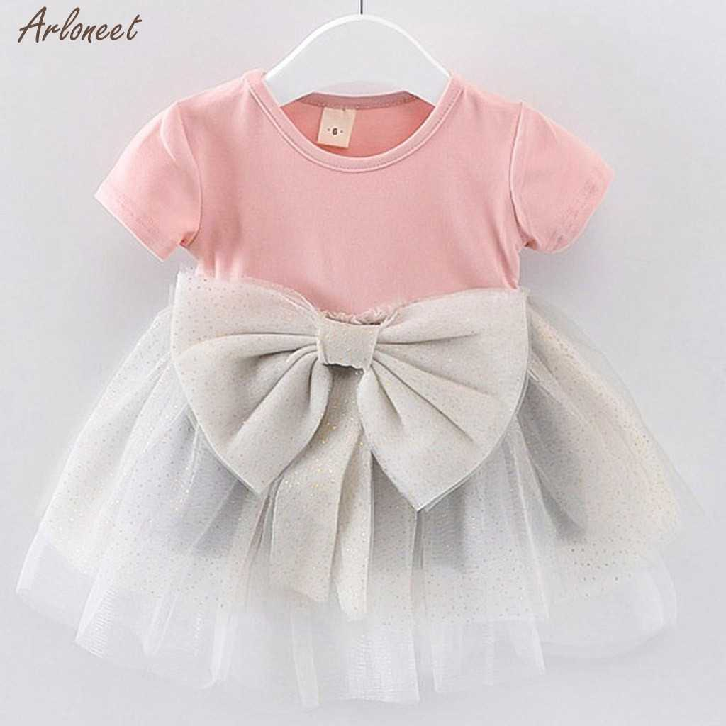 2019 Zomer Nieuwe Baby Baby Fairy Peuter Kid Baby Meisjes Solid Bow Paillette Jurk Tule Tutu Prinses Party Dress Gift 27