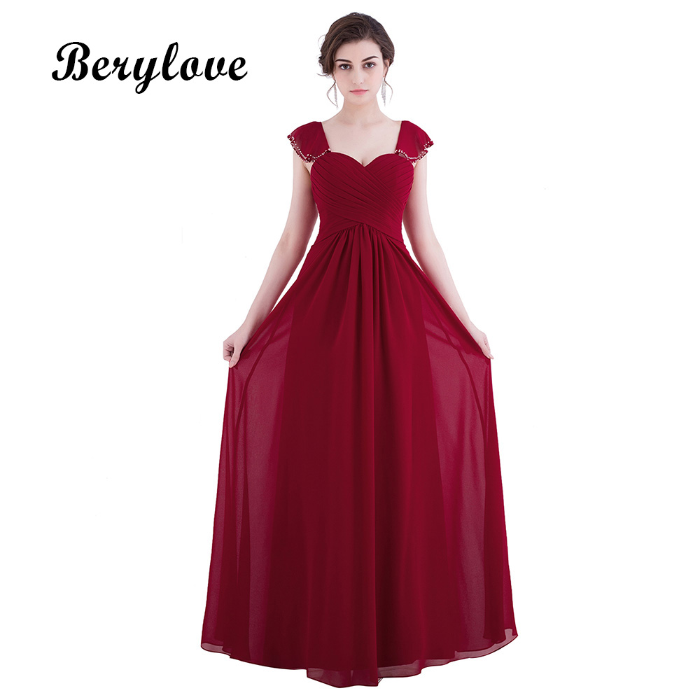 BeryLove Dark Red Long Evening Dresses Simple Evening Dress 2018 ...