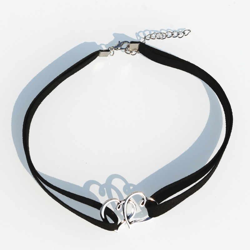 N2010 Multilayer Beludru Chokers Kalung untuk Wanita Goth Ganda Hati Liontin Kalung Collares Fashion Perhiasan Bijoux Colar