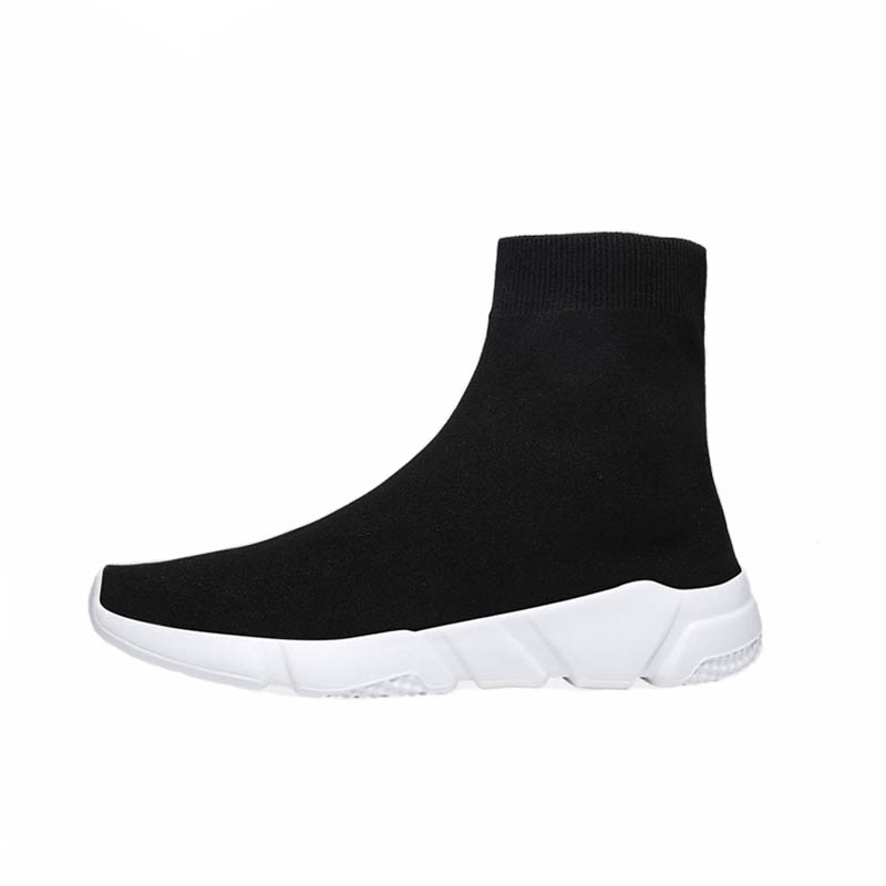 New Light High Top Breathable Lightweight Sock Shoes Man Women Sports Stretch Sport Sneakers Running Shoes For Men Sneaker Black цена