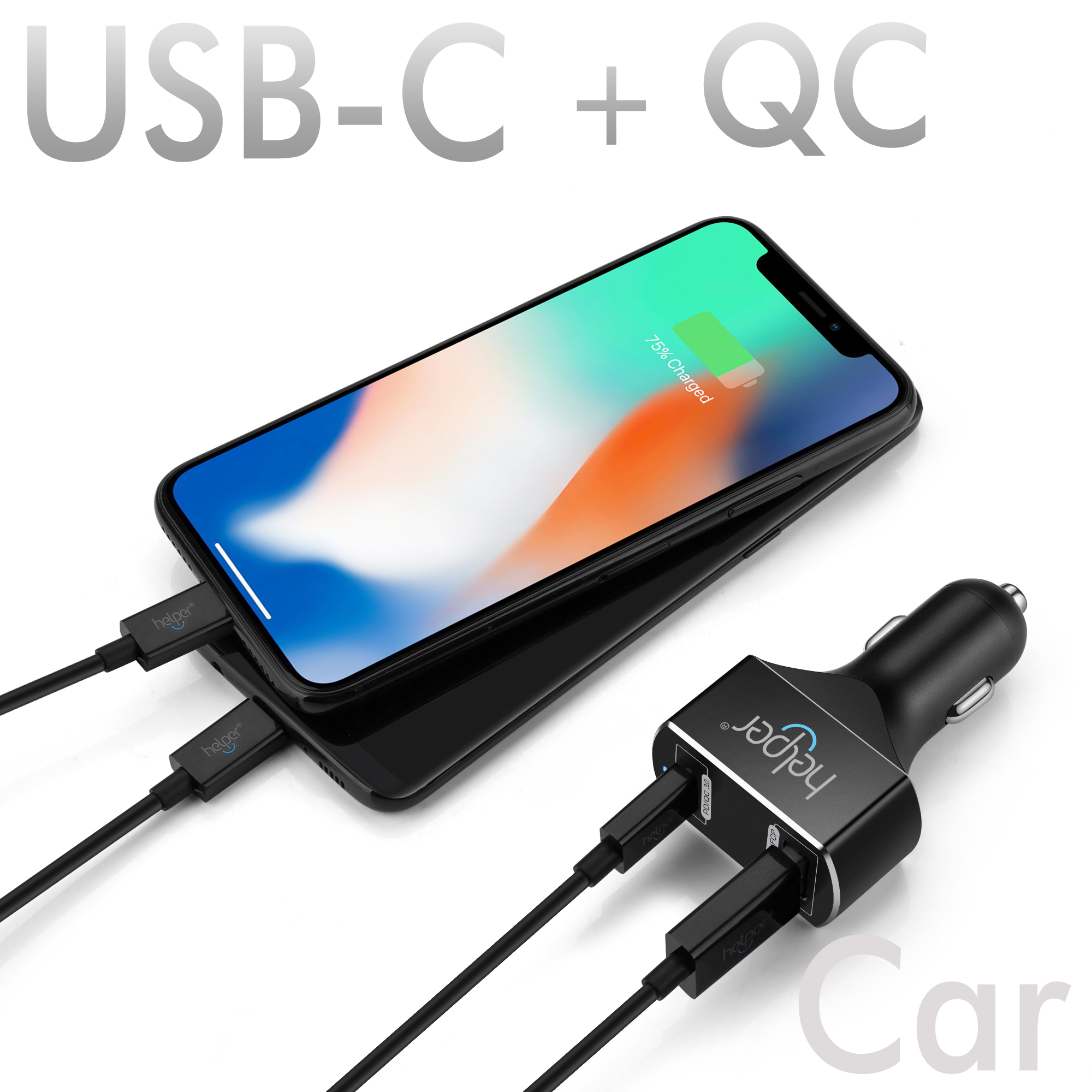 5V 20V USB C PD Car Charger with Power Delivery 45W Quick Charge 3.0 USB-C 18W QC3.0 USB Car Charger Adapter for Laptop Notebook